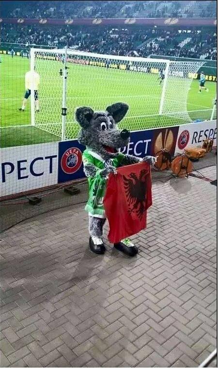 Maskota e Wolfsburgut me flamurin kuq e zi (Foto)